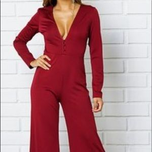 God shield  red long sleeves jumpsuit